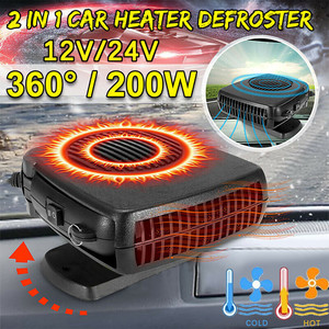 Portable Auto Car Heater Defroster Demister 12/24V 200W Electric Heater Windshield 360 Degree Rotation ABS Heating Cooling Fan