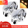 2pcs 10W 12V Universal Motorcycle Headlights Motorbike Retro Bullet Fog Light Auxiliary Light Fit for Motorbike