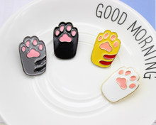 Cute Pink Yellow White Black Cat Claw Brooch Toe Bean Team Animal Claws Lovely Brooches Jewelry Pins Accessories For Women Girl(China)