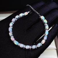KJJEAXCMY boutique jewelry 925 sterling silver inlaid natural Opal gemstone bracelet female support test