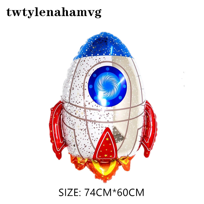 The new Rocket Baby Boy Super Favor Toys happy birthday party Theme decorations  Astronaut foil balloons Kids Outer Space Balls