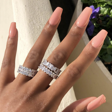Original 925 Sterling Silverสร้างMoissaniteแหวนงานแต่งงานค็อกเทลTopazแหวนพลอยผู้หญิงเครื่องประดับ