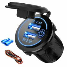 NEW 12/24 V 3.1A Dual USB Car Charger With LED Display Unive