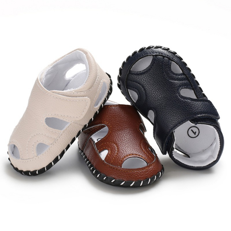 Summer Baby Boy Closed Toe Soft Sole Anti-slip Crib Shoes First Walkers Walking Shoes Infant Shoes 0-18 Month F