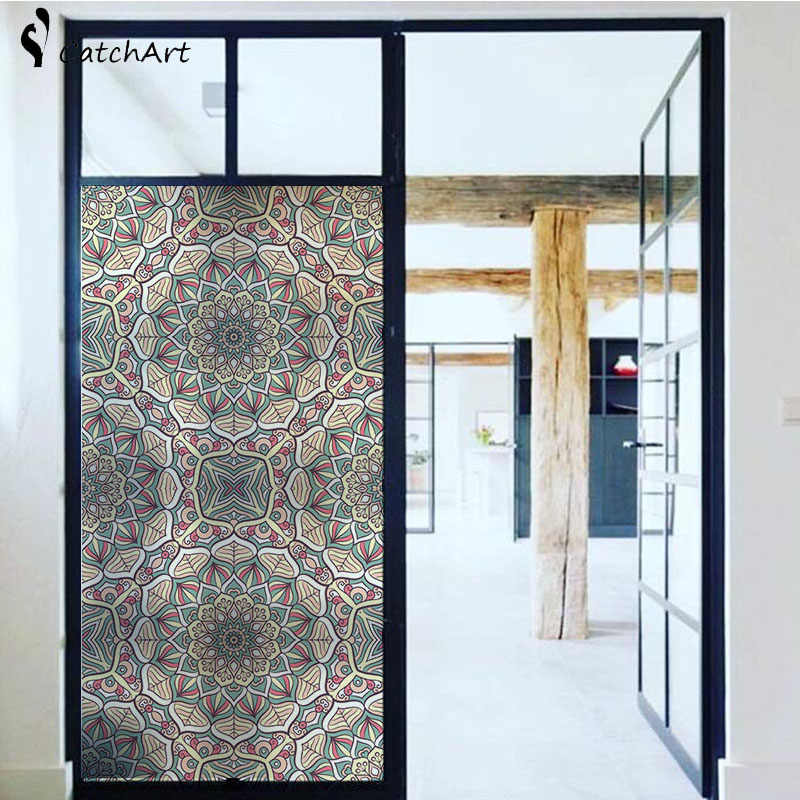 Window Cling Stained Glass Window Film Decorative Window Film Del Vinile Non Adesivo Privacy Pellicola, per il Bagno Porta Della Doccia