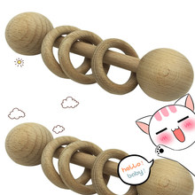 Newborn Educational Toys DIY Wooden Baby Molar Teether Toys Solid Wood Rattle Baby Room Decoration Birth Gift 038(China)