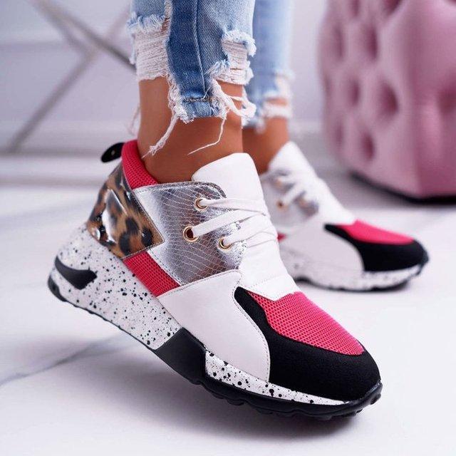 Sapatilhas femininas nova moda leopardo impressão calçados esportivos femininos ao ar livre corredores sapatos para mulher rendas-up de fundo grosso tênis 4