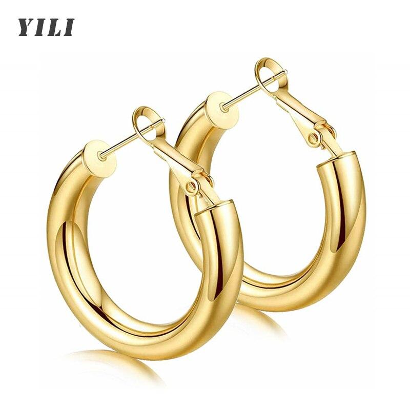 2021 Новый толщиной Хооп серьги легкий массивные золотые кольца серьги 14K позолоченные большие круглые серьги для женщин и девочек