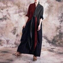 Johnature Vintage 2019 jesienne ubrania damskie nowy dekolt w serek z długim rękawem Plus Size sukienki geometryczne kieszenie długie kobiety w kratę sukienka