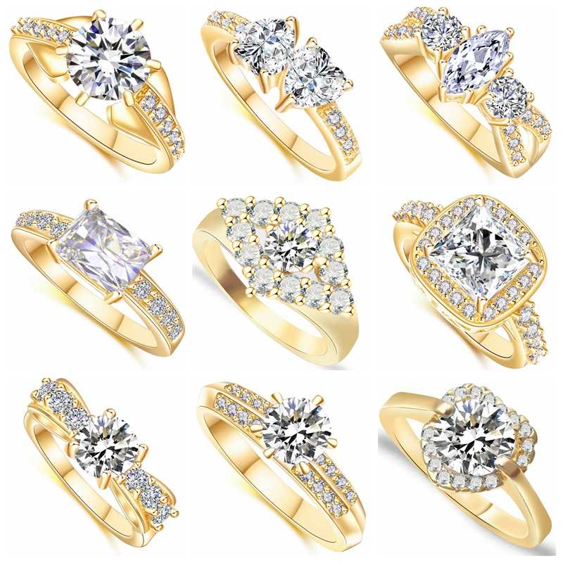 19 Different Styles Classic Fashion Wedding Rings for Women AAA Cubic Zirconia Crystal Gold Color Jewelry  Engagement Ring Gift