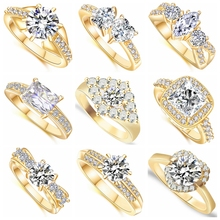 19 Different Styles Classic Fashion Wedding Rings for Women AAA Cubic Zirconia Crystal Gold Color Jewelry  Engagement Ring Gift angelfrigg trendy women rings with aaa cubic zirconia wedding engagement anniversary fashion ladies jewelry gift