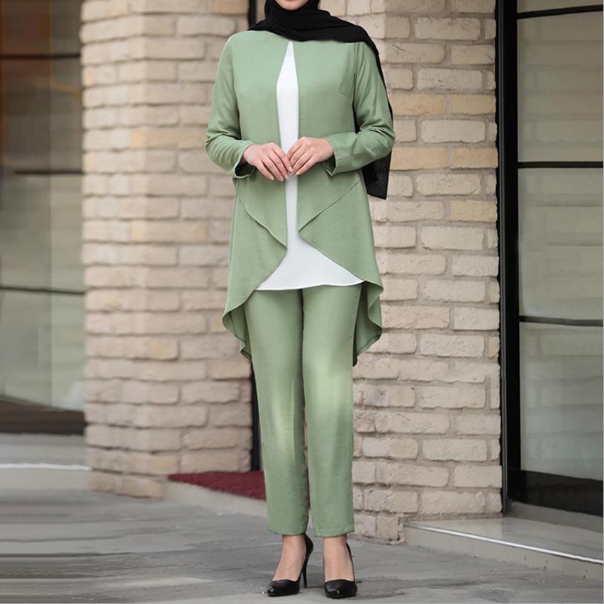Elegant two pieces silky muslim sets Worship service robe suits Tuxedo style Abaya suits Tunic Jubah dubai Ramadan sets F1970