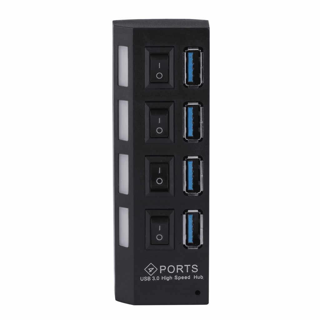 USB Switcher สนับสนุน 1TB 4 พอร์ต USB3.0 Super Speed 5Gbps ฮับเปิด/ปิดสวิทช์ไฟ LED อะแดปเตอร์แท็บเล็ต pc USB Hubs-L909