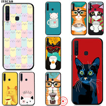 IYICAO Cat And Coffee Cut Soft Case for Samsung Galaxy A9 A8 A7 J6 A6 Plus 2018 A3 A5 2016 2017 Silicone TPU(China)