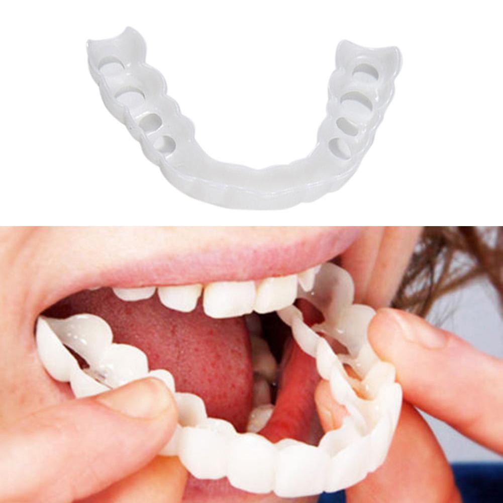 2Pcs/Set Portable Non-toxic Upper Below White Fake Teeth Veneer Cover Dental Kit Denture Care Oral Care