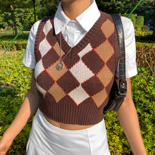 YICIYA Brown Argyle Vintage Y2K Cropped Sweater Vest Autumn Sleeveless Knit Tank Top Pullover Preppy Style Casual Plaid Knitwear