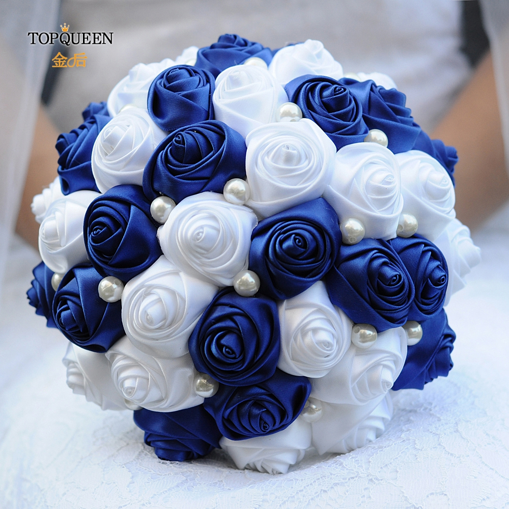 TOPQUEEN Blue Wedding Bouquet for Bride Wedding Decoration Bouquets of Artificial Flowers Bride Flower Bridemaid Bouquet  F4-RBL