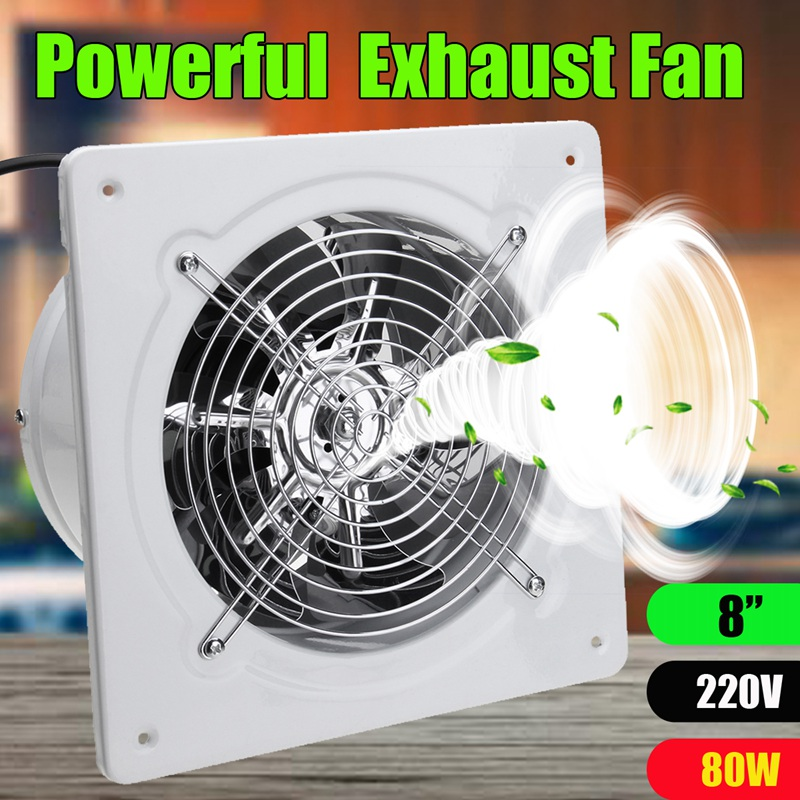 80W 8Inch 220v Ventilator Extractor Exhaust Fans High Speed Boost Exhaust Fan Toilet Kitchen Bathroom Hanging Wall