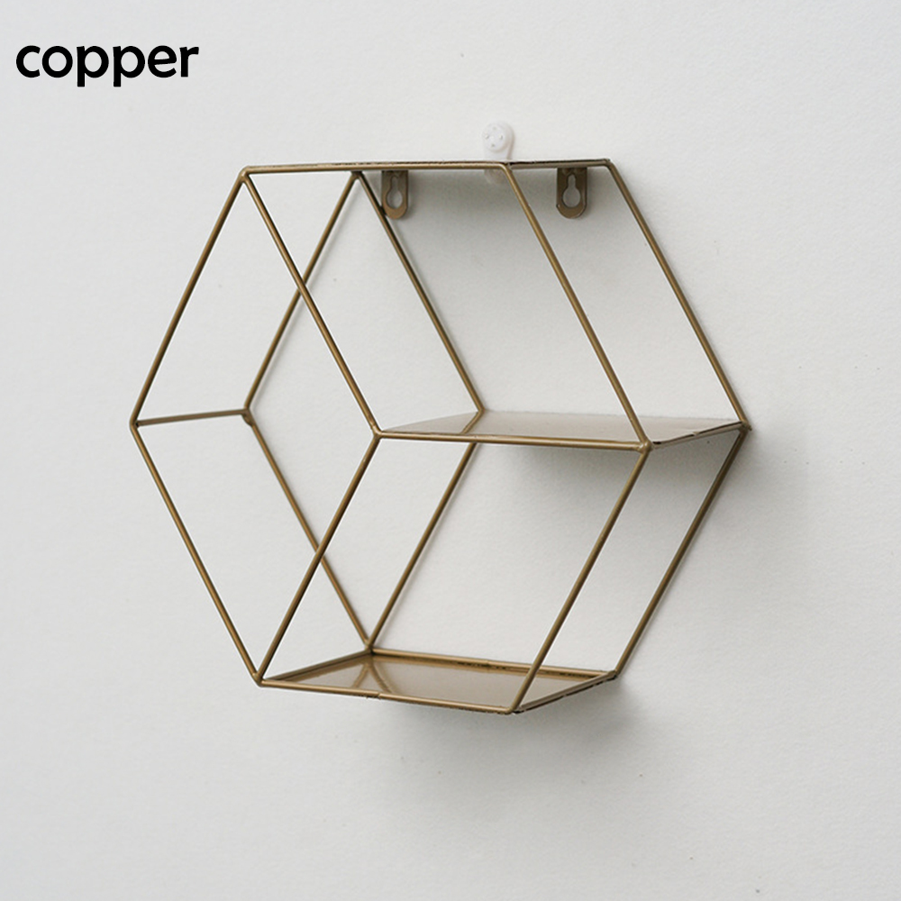 Nordic  Iron Style Metal Decor Shelf Round Hexagonal Storage Holder Rack Shelves Home Wall Decor Potted Ornament Holder Rack