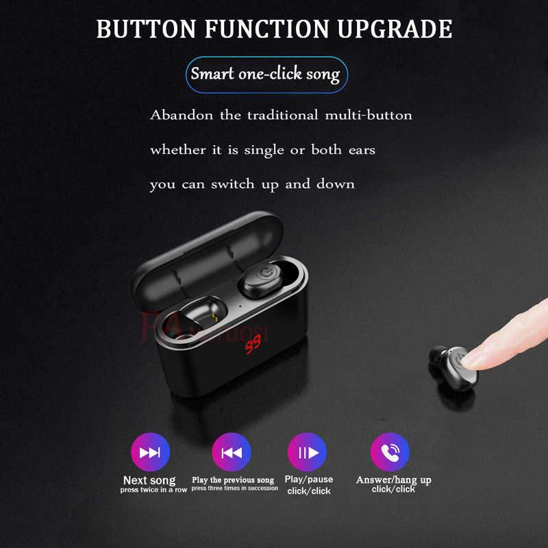 FANGTUOSI bezprzewodowy zestaw słuchawkowy Bluetooth HBQ Bluetooth 5.0 słuchawki 3D Stereo Sport zestaw głośnomówiący słuchawki douszne słuchawki douszne z mikrofonem okno ładowania