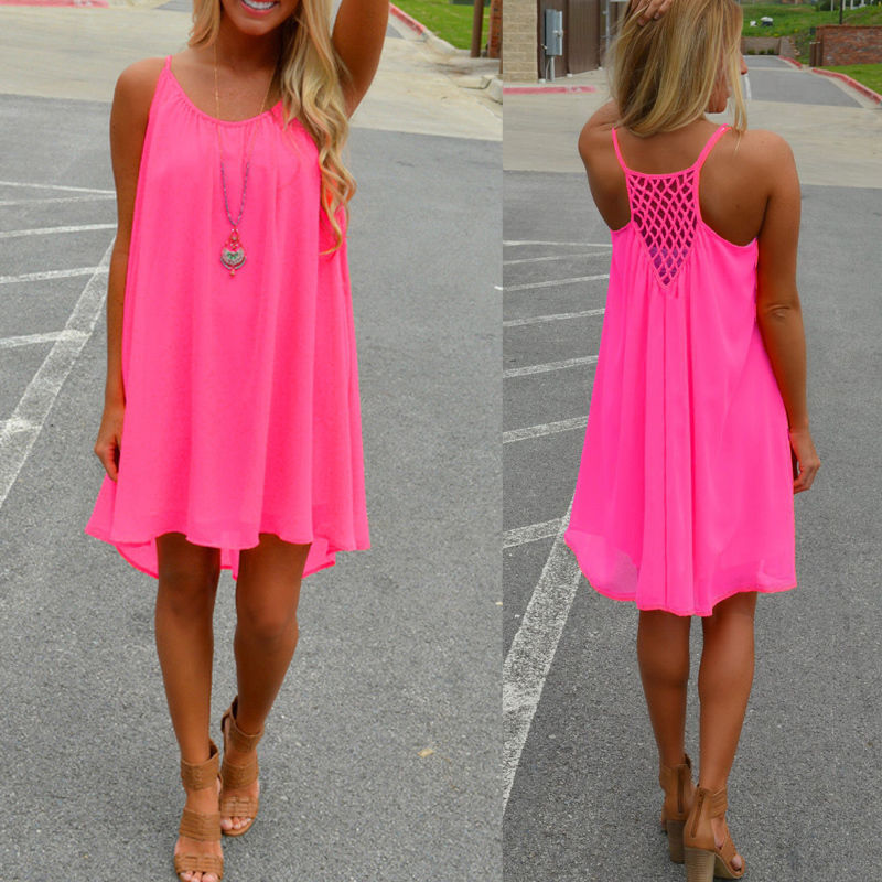 Neon New <font><b>Sexy</b></font> Lady <font><b>Night</b></font> <font><b>Club</b></font> <font><b>Dress</b></font> Midi Summer Women Elegant Party Fluorescent Backless Spaghetti Strap casual <font><b>dress</b></font> D30 image