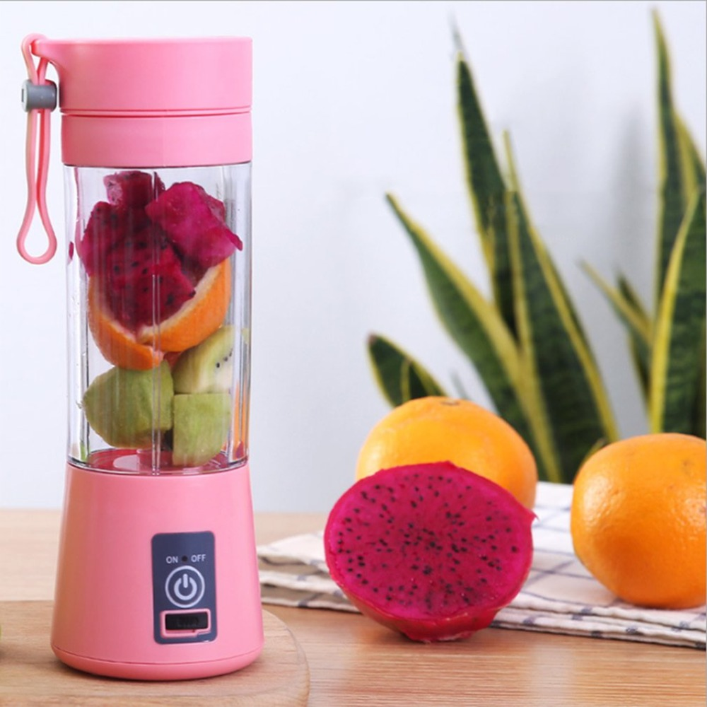 380ml 2/4 Blades Mini USB Rechargeable Portable Electric Fruit Juicer Smoothie Maker Blender Machine Sports Bottle Juicing Cup