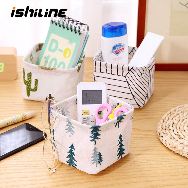 Mini Desktop Storage Basket Cute Printing Waterproof Organizer Canvas Fabric Toy Cosmetic Jewelry Sundries Office Storage Box