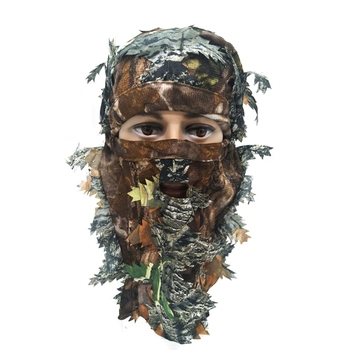 Outdoor Hunting Mask 3D Camouflage Full Face Mask Wargame Cycling Hunting Camouflage Leaf Bike Helmet Hat Cap
