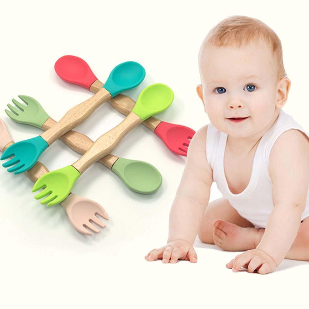 1pc Baby Spoon Fork Safety Feeding Flatware Tableware Wooden Silicone Infant Baby Feeding Accessories Utensils