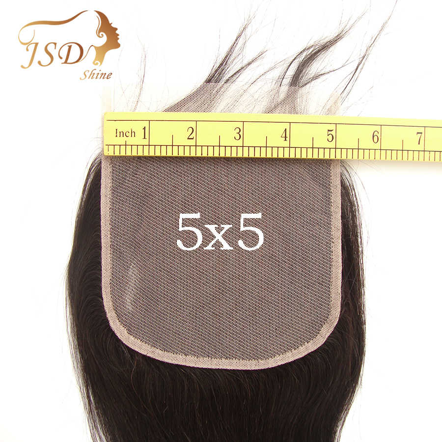 JSDShine 7x7 6X6 Lace Closure Straight Human Hair Closure With Baby Hair Swiss 13x4 13x6 Lace Frontal Remy Hair Natural Black