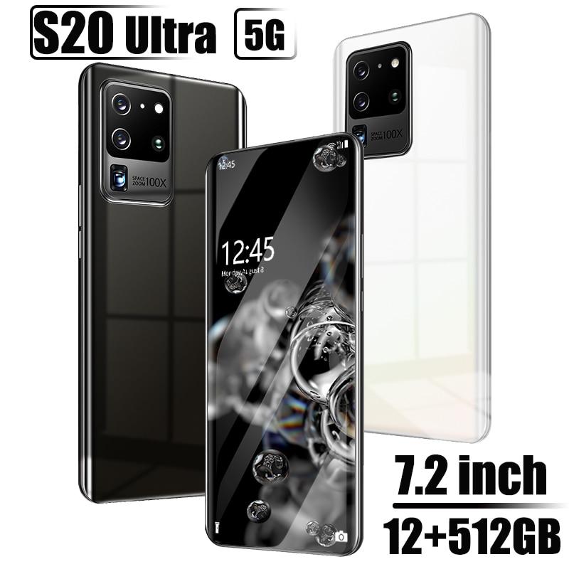Глобальная версия Galay S20 ультра смартфон 7,2 HDinch 12 Гб + 512 Гб мобильные телефоны 16 ГБ + 32 ГБ, Мп android мобильных телефонов