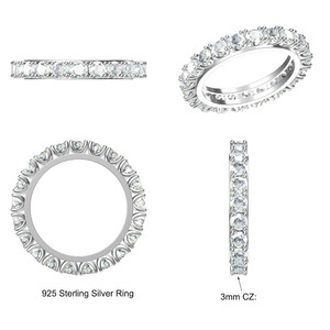 Image 3 - Real 925 Sterling Silver Rings Stunning Full 3mm Shiny Zirconia Engagement Jewellery Eternity Promise Tennis Wedding Jewelry