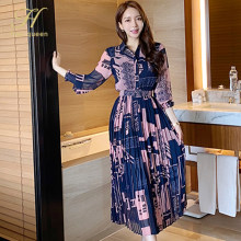 H Han Queen Vintage Print Elegant Long Dress Women Autumn Pleated Dresses Korean Slim Ankle-length Office Casual Party Vestidos