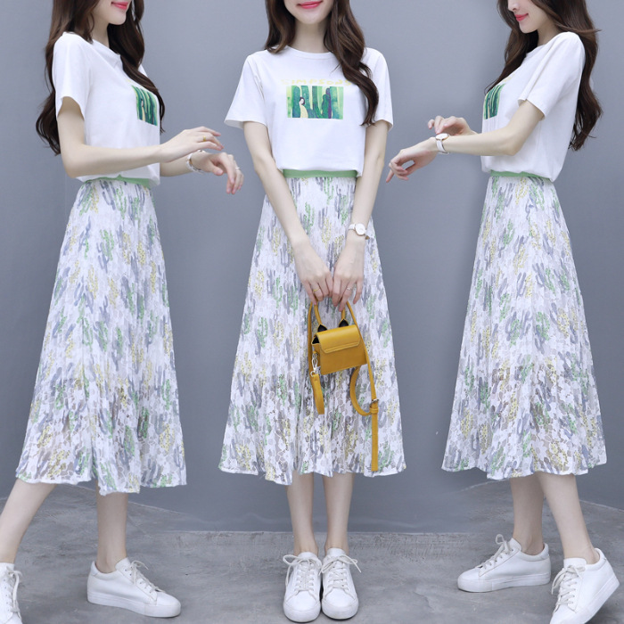 2020 Very Fairy Two-Piece Western Style Online Celebrity By Age Summer New Style France Non-mainstream T-shirt Skirt WOMEN'S Sui