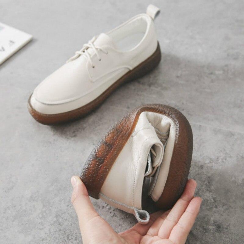 Femmes mocassins doux en cuir véritable chaussures plates femmes blanc automne à la main en cuir paresseux chaussures appartements sans lacet noir mocassin femmes - 6