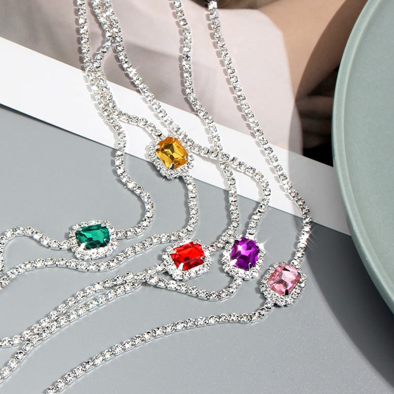 Caraquet Bohemian Multicolor Square Crystal Choker Necklace Rhinestone Chain Necklace Lady Dance Party Jewelry Accessories
