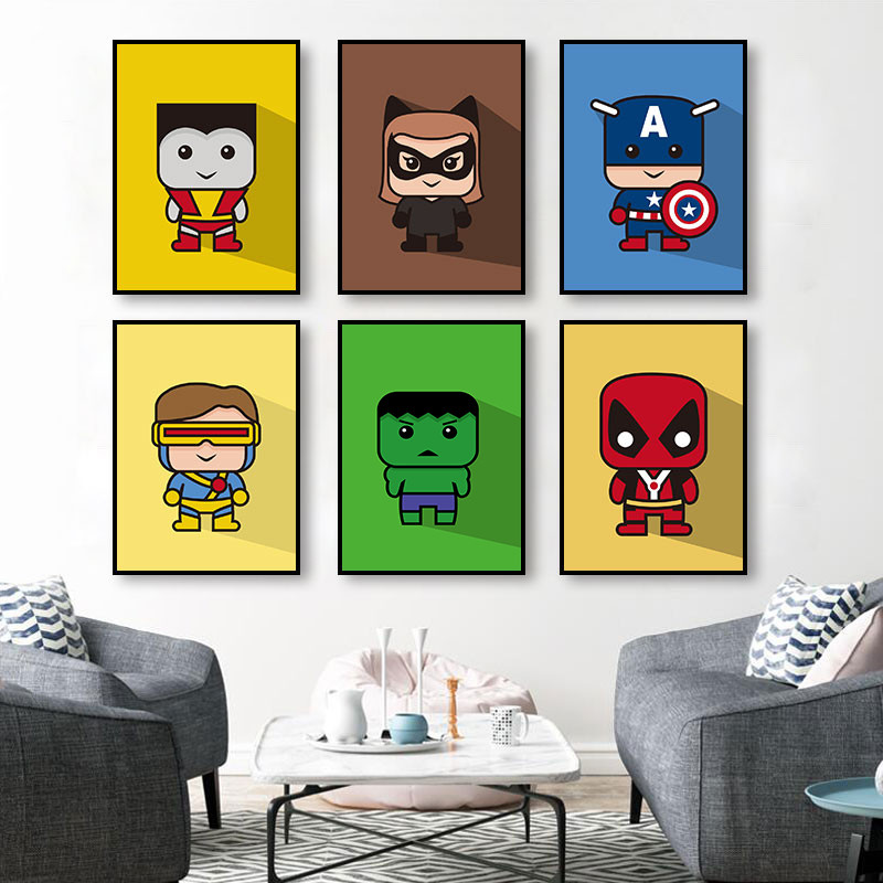 The Avengers Superhero Canvas Painting Captain Batman Spiderman Posters Children Room Creative Wall Decorative Pictures image