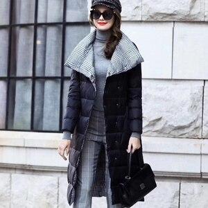 Image 2 - Veste dhiver en duvet de canard Ly Varey Lin pour femme, manteau Long et épais à carreaux Double face grande taille
