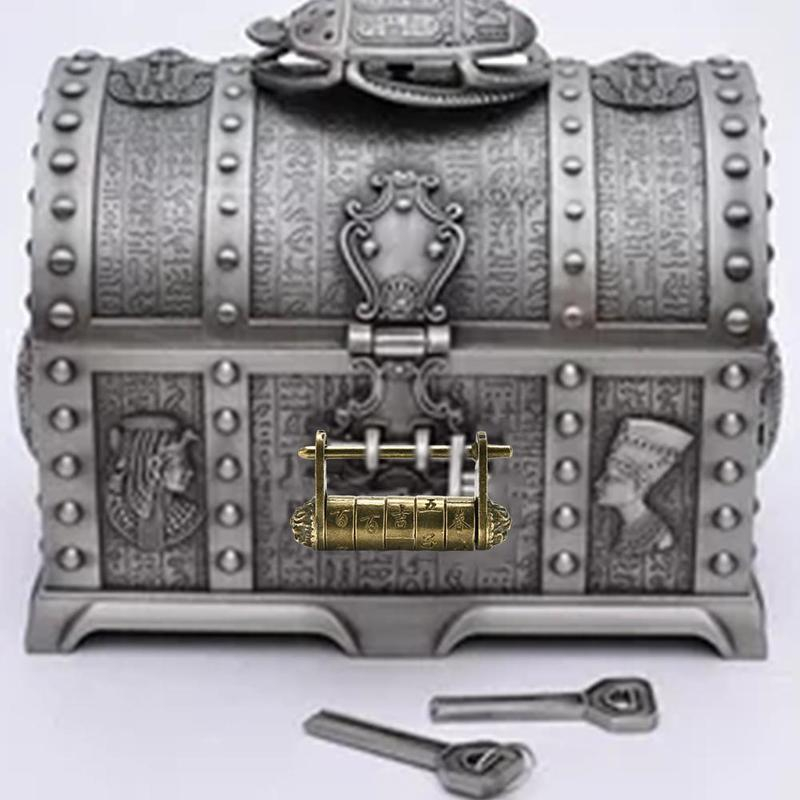 1piece Five-wheeled Padlock Room Escape Lettering Padlock Chinese Retro Can Open Antique Text Password Lock Box Decoration