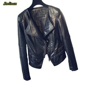 Smlinan 2020 Faux Leather Jacket Women O Neck Long Sleeve Zipper Washable Leather Jackets Female Biker Motorcycle Jacket Women