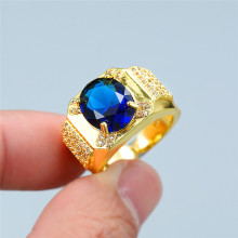 lesf vintage style 925 sterling silver 1 25 ct oval cut trendy wedding ring for women zircon engagement ring trendy jewelry Luxury Female Blue Crystal Stone Ring Trendy Zircon Yellow Gold Wedding Rings For Women Vintage Bridal Oval Engagement Ring