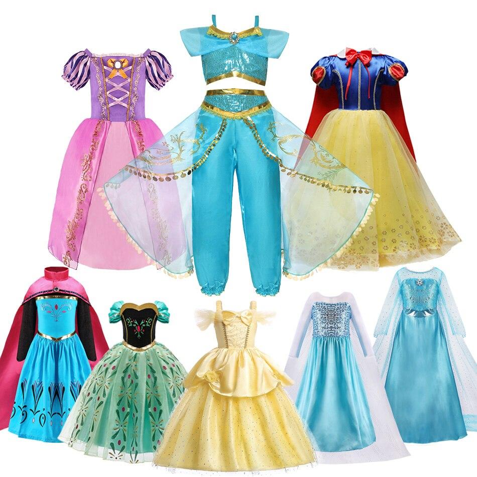 Girls Princess Costume Elsa Anna Mermaid Jasmine Belle Snow White Dress Kids Baby Girl Birthday Party Halloween Dress 2-10 Years