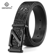 GEFANYA Fashion Crocodile Cow Genuine Leather Belts for Men Smooth buckle High Quality Jeans Mens Male Belt Strap