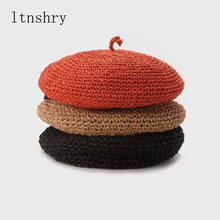 New Summer Hats For Woman Straw Berets Female Camel Solid French Artist Hat Ladies Casual Spring Holiday Caps straw hat