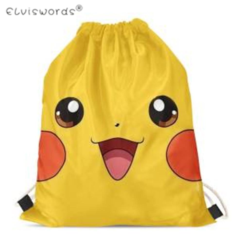ELVISWORDS Soft Drawstring Bags Cute Cartoon Pokemon Design Printed Storage Bags Kids Boys Girls Custom Gift Small Sack Pack