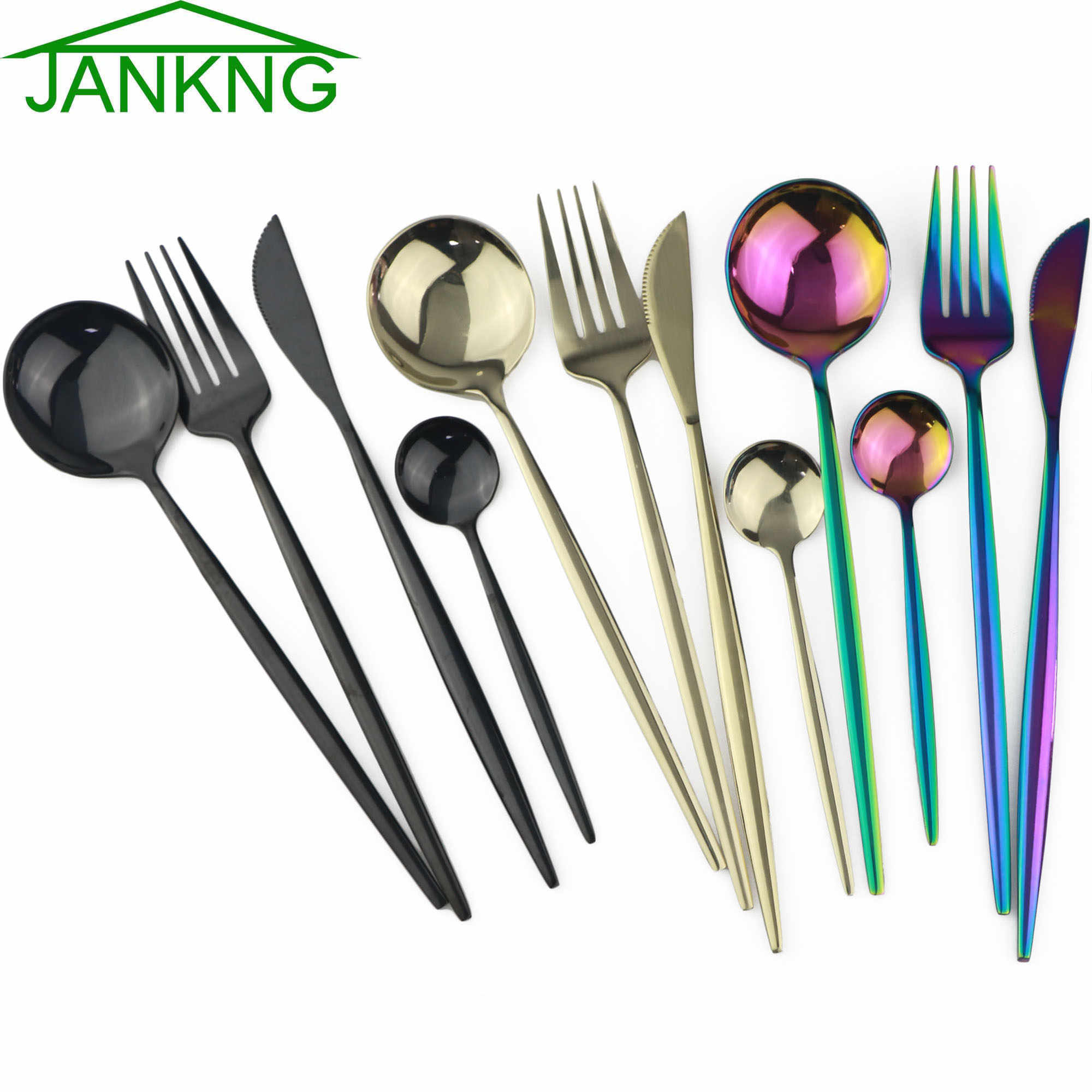 4Pcs สีดำชุดอาหารเย็น Rainbow ช้อนส้อมมีดส้อมช้อนชุด Flatware 304 สแตนเลสสตีลบนโต๊ะอาหารชุดอาหารค่ำ