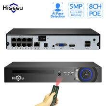 Hiseeu h.265 4/8ch poe nvr segurança ip câmera de vigilância por vídeo sistema cctv p2p onvif 5mp2mp rede gravador vídeo rosto detectar
