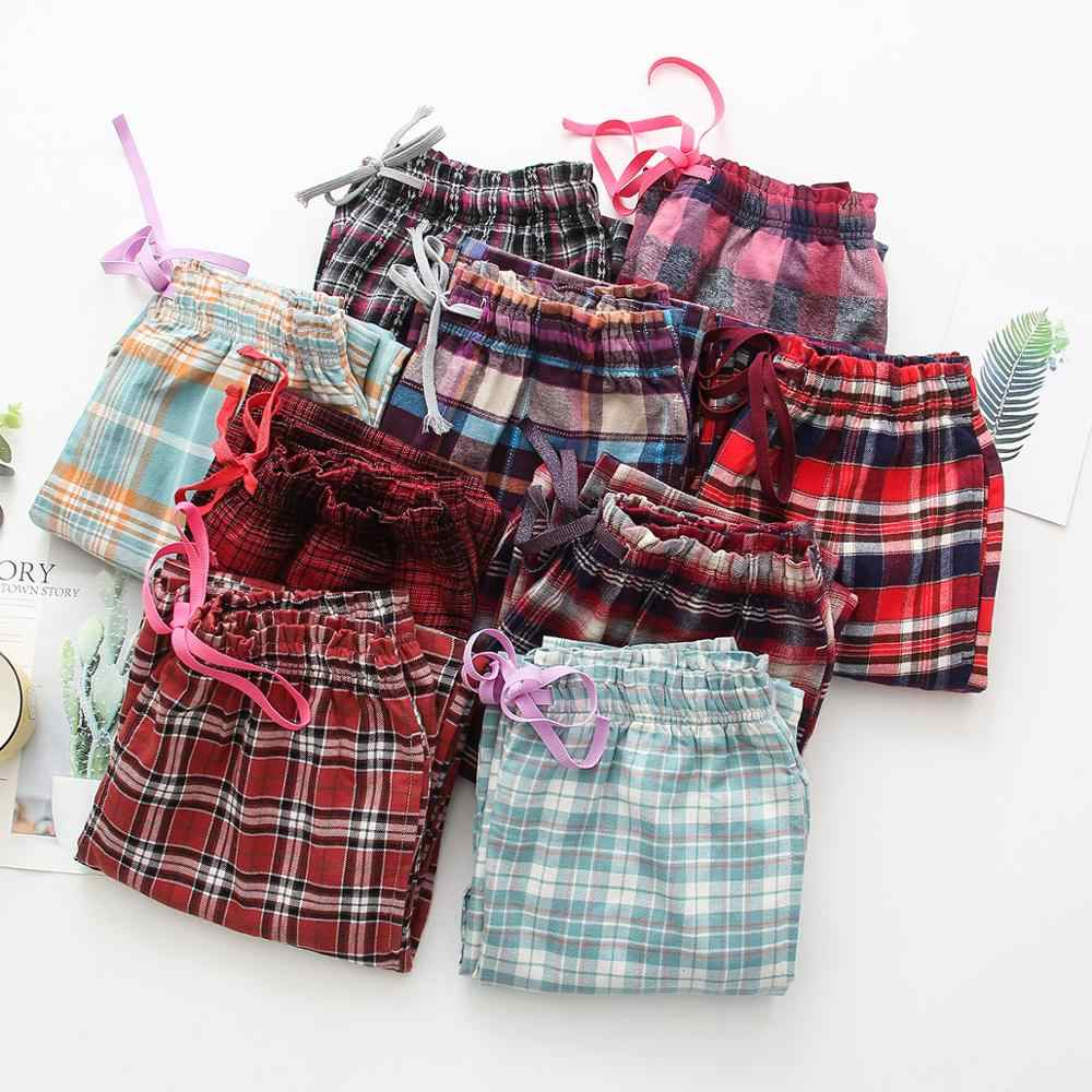 2020 Spring Autumn Women 100% Polished Cotton sleeping bottoms Female nighty trousers Ladies Casual Plaid pajama pants Plus size