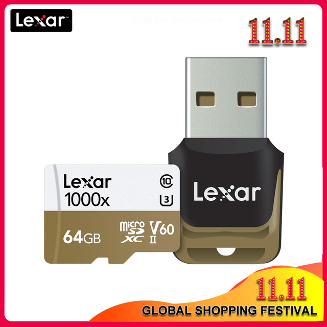 Original Lexar 1000x Micro SD  Class 10 64GB micro SDXC up to 150MB/s tf Memory Card Reader UHS for Drone Sport Camcorder