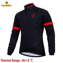 YKYWBIKE 사이클링 자켓 남자 겨울 방수 의류 열 양털 재킷 긴 소매 정상 10 ° c 범위를 가진 고품질